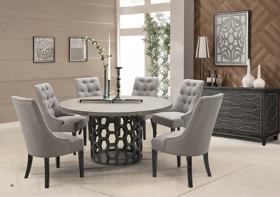 Armen Living Centenial 7-Piece Dining Set in Stainless Steel