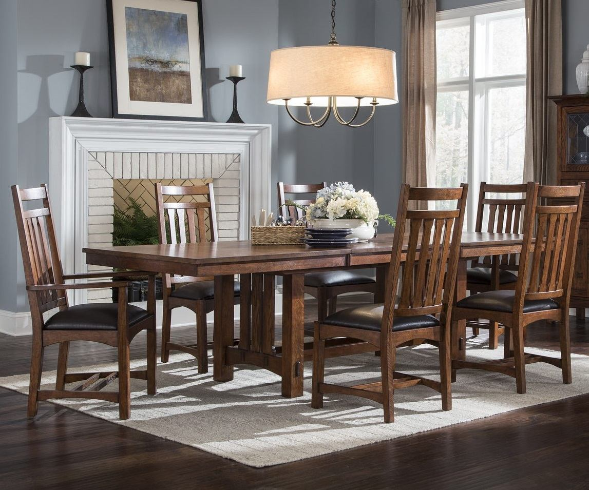 Intercon Furniture Oak Park 7-Piece Trestle Dining Room Set in Mission