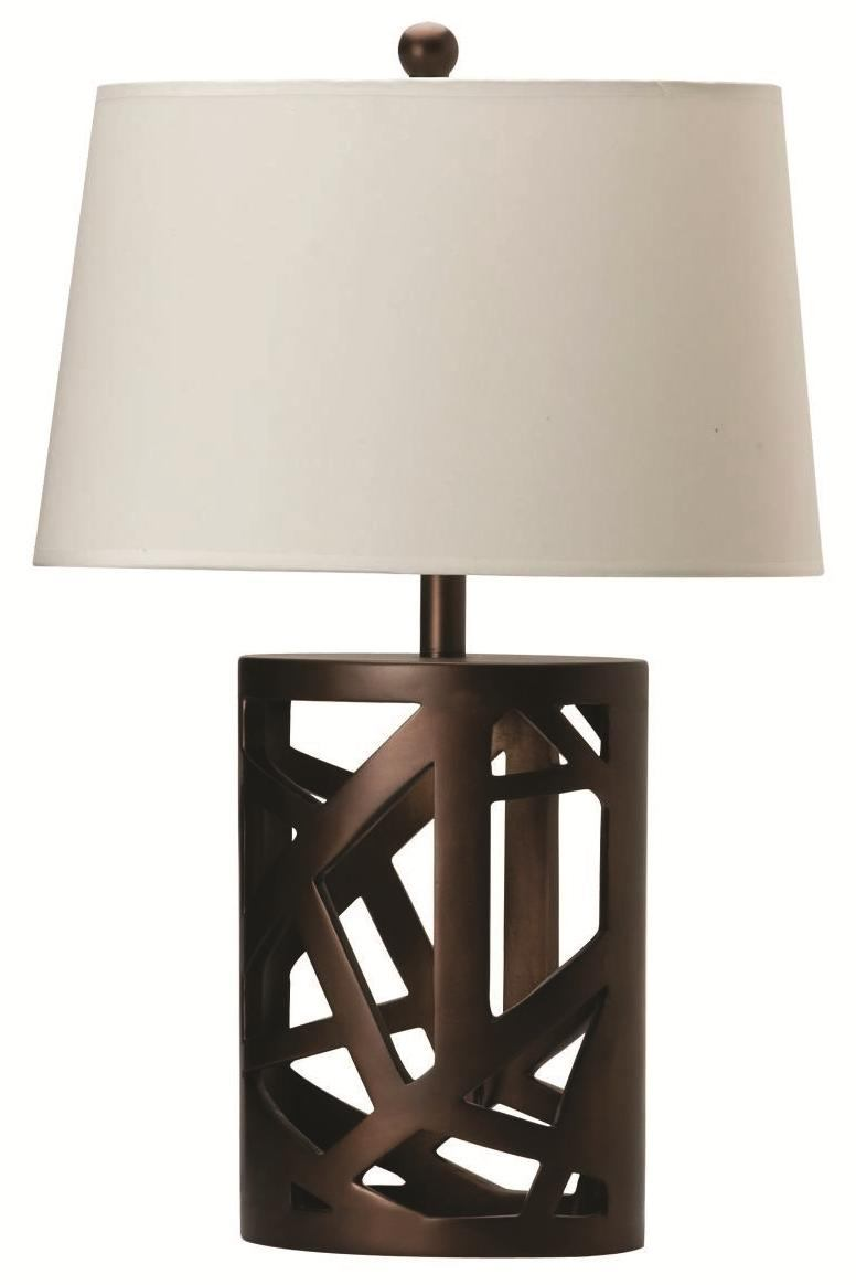 Coaster Brown Table Lamp w/ White Shade (Set of 2) 901256