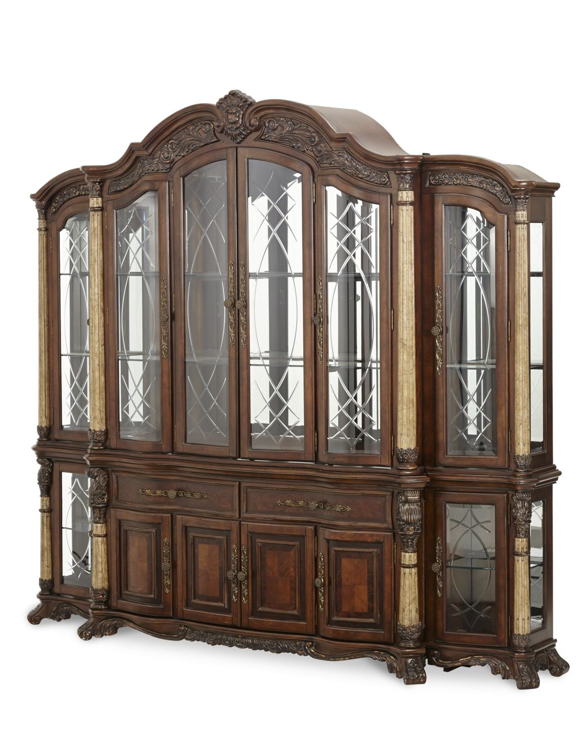 AICO Victoria Palace China and Buffet w/Side Piers in Light Espresso CODE: MEM10 for 10% Off