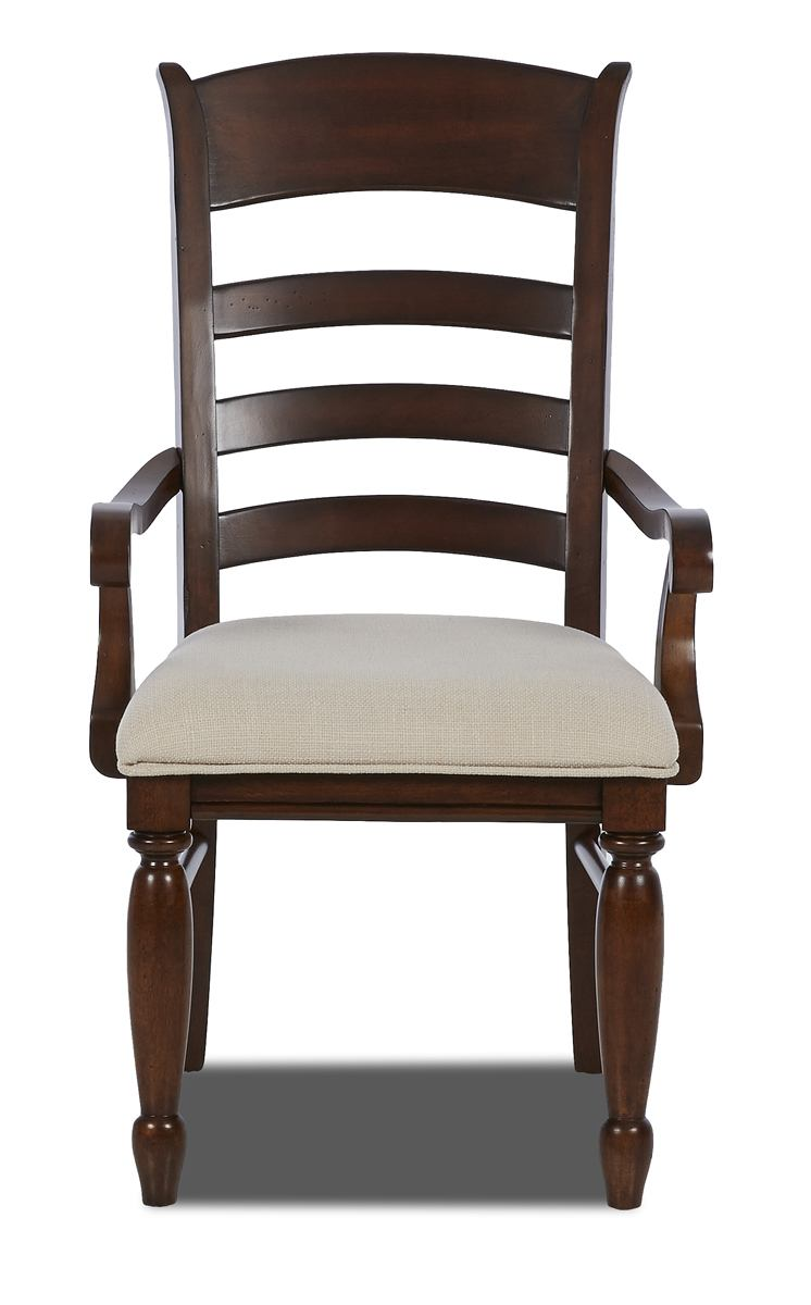 Klaussner Blue Ridge Ladder Back Arm Chair with Upholstered Seat in Cherry 426-906 (Set of 2)