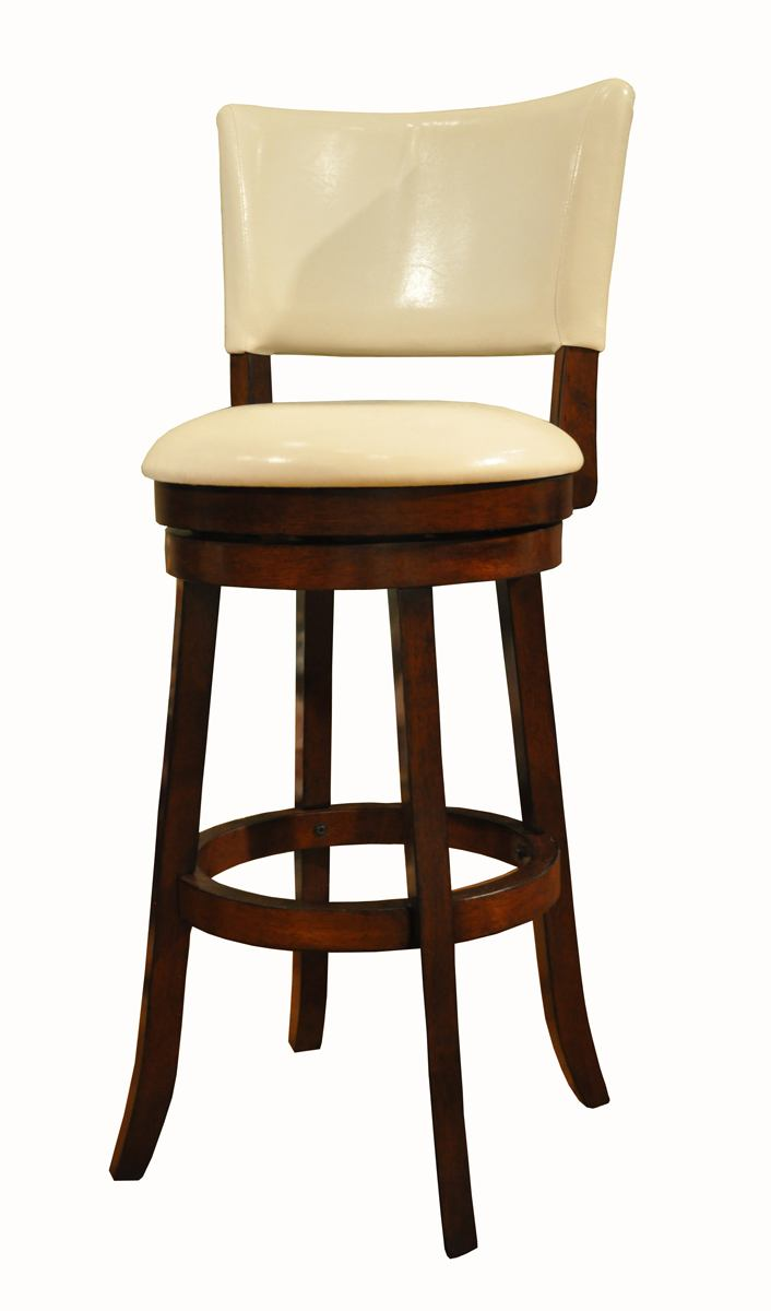 "ECI Furniture 24"" White Upholstered Stool in Espresso N1315-99-BSWH-24 (Set of 2)"