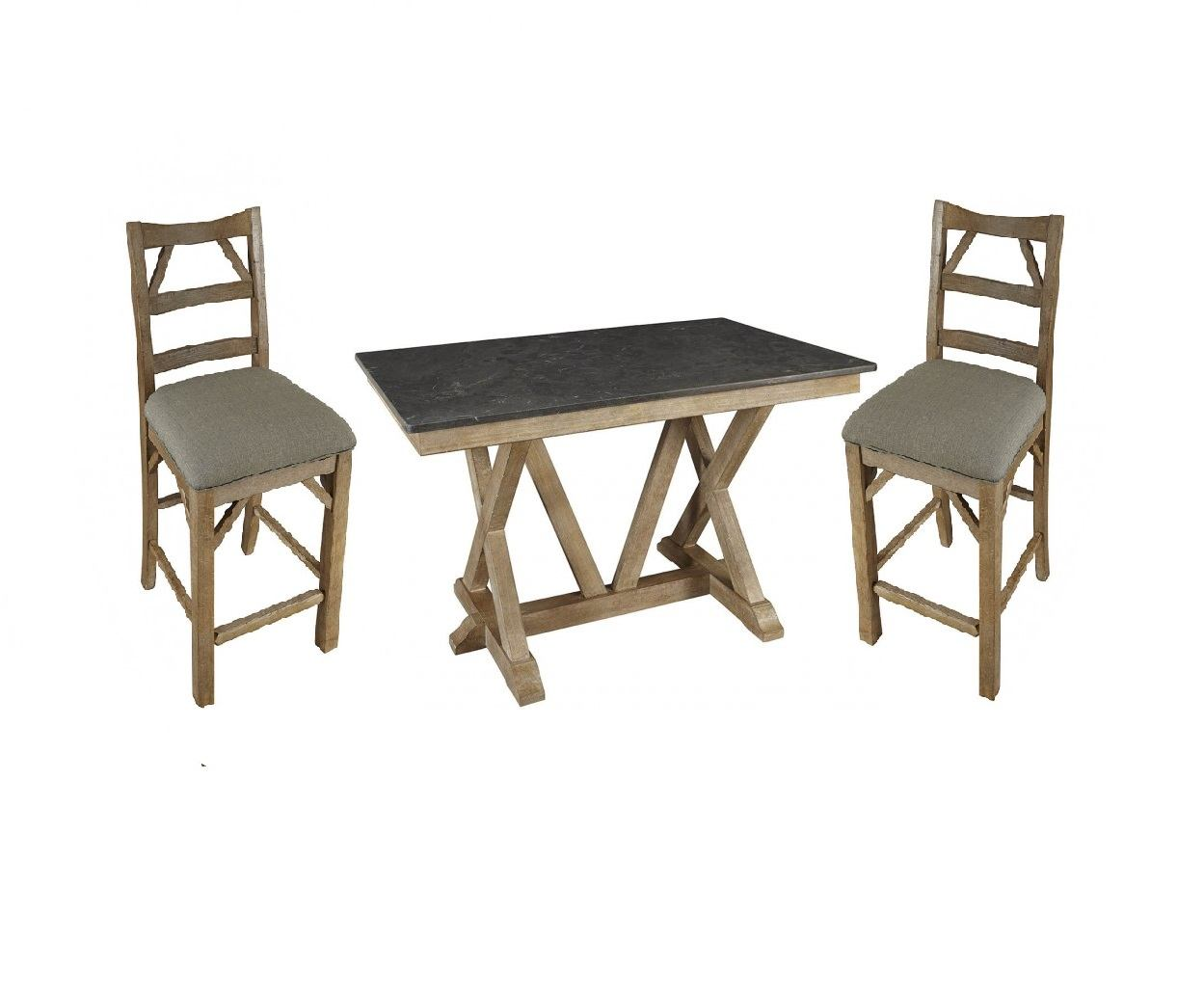 A-America West Valley 5pc Trestle Gathering Height Dining Set in Rustic Wheat