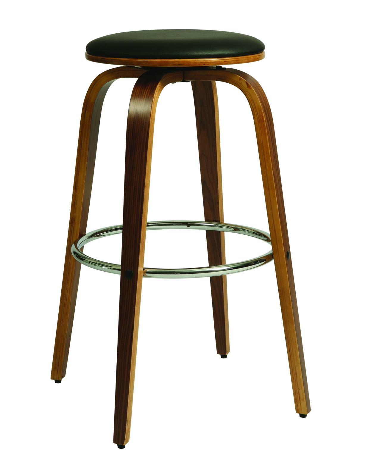 Pastel Furniture Yohkoh Swivel Barstool in Chrome and Walnut Veneer (Set of 2) YH-215-30-CH-WA-979