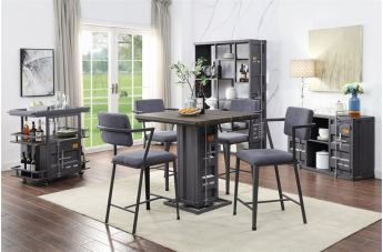 Acme Furniture Cargo 5pc Counter Height Dining Room Set in Antique Walnut & Gunmetal