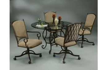 Pastel Furniture 5pc Atrium Round Dining Room Set with Caster Chairs in Autumn Rust