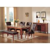 Acme Bologna 6-pc Marble Top Rectangular Dining Table Set in Brown