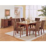 Acme Bologna 7-pc Marble Top Rectangular Dining Table Set in Brown