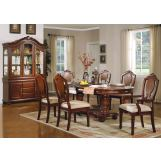 Acme Classique 7 pc Double Pedestal Dining Table Set in Brown Cherry