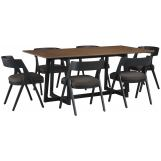 Palliser Furniture Mix and Match Clara Rectangular Dining Table with 6 Calvin Wood Chair Dining Set in Brown 119-159K70