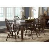 Liberty Furniture Cabin Fever 7pc Formal Dining Room in Bistro Brown Finish 121-DR