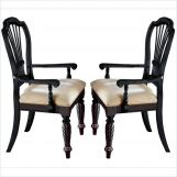 Hillsdale Wilshire Dining Arm Chair in Rubbed Black (Set of 2)  4509-805