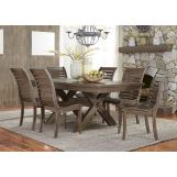 Liberty Furniture Bayside Crossing 7pc Trestle Dining Set in Washed Chestnut