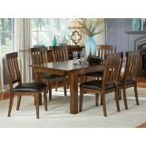 A-America Mariposa Double Butterfly Leg Dining Set in Rustic Whiskey
