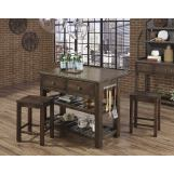 Vaughan-Bassett Simply Dining 3-Piece Island Table Set in Dark Maple