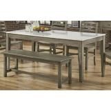 "Vaughan-Bassett Simply Dining 72"" Kitchen Table w/ Wooden Top in Grey 221-100"