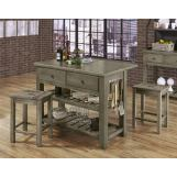 Vaughan-Bassett Simply Dining 3-Piece Island Table Set in Grey
