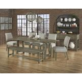 Vaughan-Bassett Simply Dining 5-Piece Live Edged Top Trestle Dining Room Set w/ Upholstered Chairs in Grey