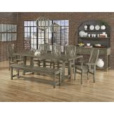 Vaughan-Bassett Simply Dining 5-Piece Trestle Dining Room Set w/ Live Edged Top in Grey