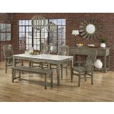 Vaughan-Bassett Simply Dining 5-Piece Kitchen Table Set w/ Quartz Top in Grey