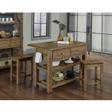 Vaughan-Bassett Simply Dining 3-Piece Island Table Set in Natural Maple