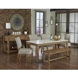 Vaughan-Bassett Simply Dining 5-Piece Quartz Top Kitchen Table Set w/ Upholstered Chairs in Natural Maple