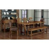 Vaughan-Bassett Simply Dining 5-Piece Live Edge Top Trestle Dining Room Set in Antique Amish