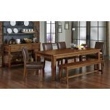Vaughan-Bassett Simply Dining 5-Piece Dining Room Set w/ Upholstered Chairs in Antique Amish