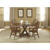 Liberty Furniture Hearthstone 5 Piece Drop Leaf Pedestal Dining Set in Rustic Oak