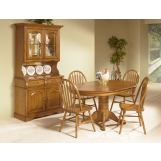 Intercon Furniture Classic Oak 7-Piece Solid Oak Pedestal Dining Room Set in Chestnut