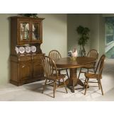 Intercon Furniture Classic Oak 7-Piece Pedestal Dining Set in Burnished Rustic