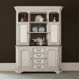 Liberty Furniture Abbey Road Hutch & Buffet in Porcelain White EST SHIP TIME IS 4 WEEKS