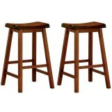 "Coaster 24"" Wooden Bar Stool in Oak (Set of 2) 180049"