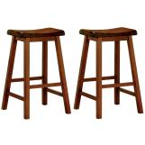 "Coaster 29"" Wooden Bar Stool in Oak (Set of 2) 180059"