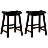 "Coaster 24"" Wooden Bar Stool in Black (Set of 2) 180019"