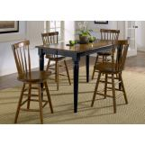 Liberty Furniture Creations II 5pc Gathering Table Set in Black and Tabacco 48-T5