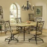 Hillsdale Brookside 5pc Rectangle Dining Room Set with Oval Caster Chairs in Brown Powder Coat