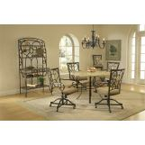 Hillsdale Brookside 5pc Round Dining Room Set with Oval Caster Chairs in Brown Powder Coat