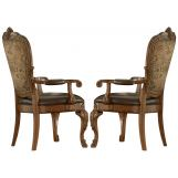 A.R.T. Old World Upholstered Arm Chair in Cherry (Set of 2)
