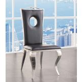 ACME Cyrene Faux Leather Side Chair (Set of 2) in Stainless Steel 62078 EST SHIP TIME IS 4 WEEKS