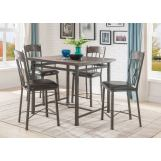 Acme Furniture Lynlee 5pc Counter Height Dining Set in Weathered Dark Oak and Dark Bronze