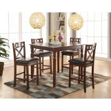 Acme Furniture Weldon 5pc Counter Height Set in Cherry
