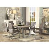 Acme Lazarus 7pc Dining Room Set in Gray