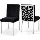 Meridian Opal Velvet Dining Chair in Black (Set of 2) 736Black-C