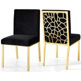 Meridian Opal Velvet Dining Chair in Black (Set of 2) 737Black-C