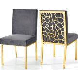 Meridian Opal Velvet Dining Chair in Grey (Set of 2) 737Grey-C