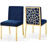 Meridian Opal Velvet Dining Chair in Navy (Set of 2) 737Navy-C