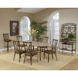 Hillsdale Brookside 7pc Rectangle Dining Room Set with Diamond Fossil Back Dining Chairs in Brown Powder Coat