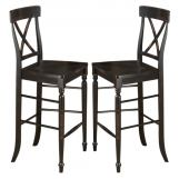 "Intercon Furniture Roanoke 30"" X-Back Bar Stool in Black (Set of 2)"