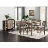Alpine Furniture Aspen 7-Piece Pub Table Set in Iron Brush Antique Natural